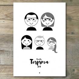 Familieportret - Gepersonaliseerd - Zwart/Wit