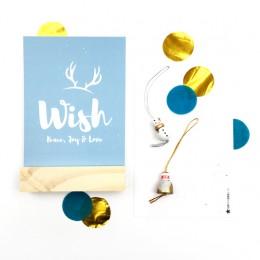 Kerstkaart - Blauw - Wish