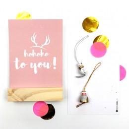 Kerstkaart - Roze - HoHoHo!