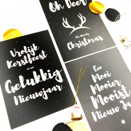 Kerstkaarten - Zwart - set van 3!