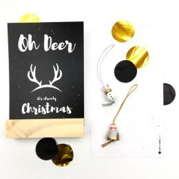 Kerstkaart - Zwart - Oh Deer!