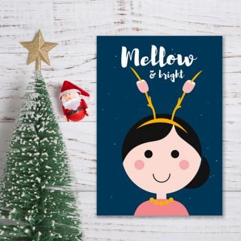 Kerstkaart - Blauw - Mellow