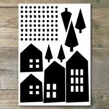 Muurstickers - Moderne Huisjes 1