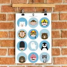 A5 Stickers - Jongens (blauw)