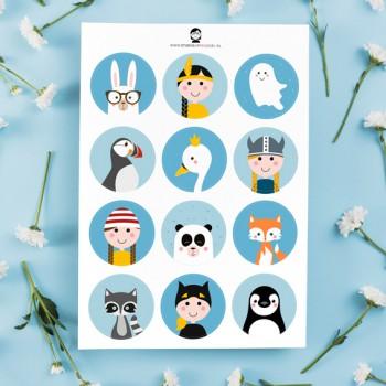 A5 Stickers - Meisjes (blauw)