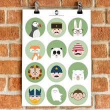 A5 Stickers - Jongens (groen)