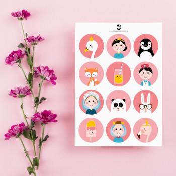 A5 Stickers - Meisjes (roze)