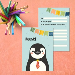 Uitnodiging - Pinguin - 5 stuks